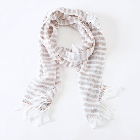 "Handwoven Scarf ""Creamy Latte"" - Traditional or Infinity"