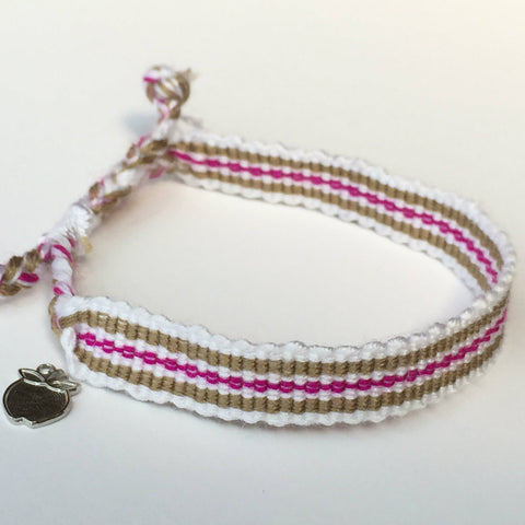 Handwoven Charity Bracelet, Magenta Taupe,  Ethically Sourced