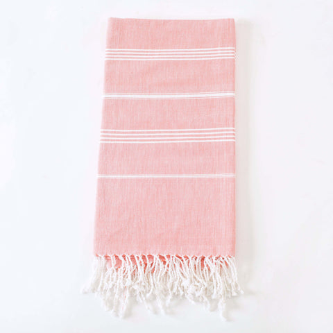 "Fair Trade Peshtemal, Fouta Bath Towel, ""Coral Shells"""