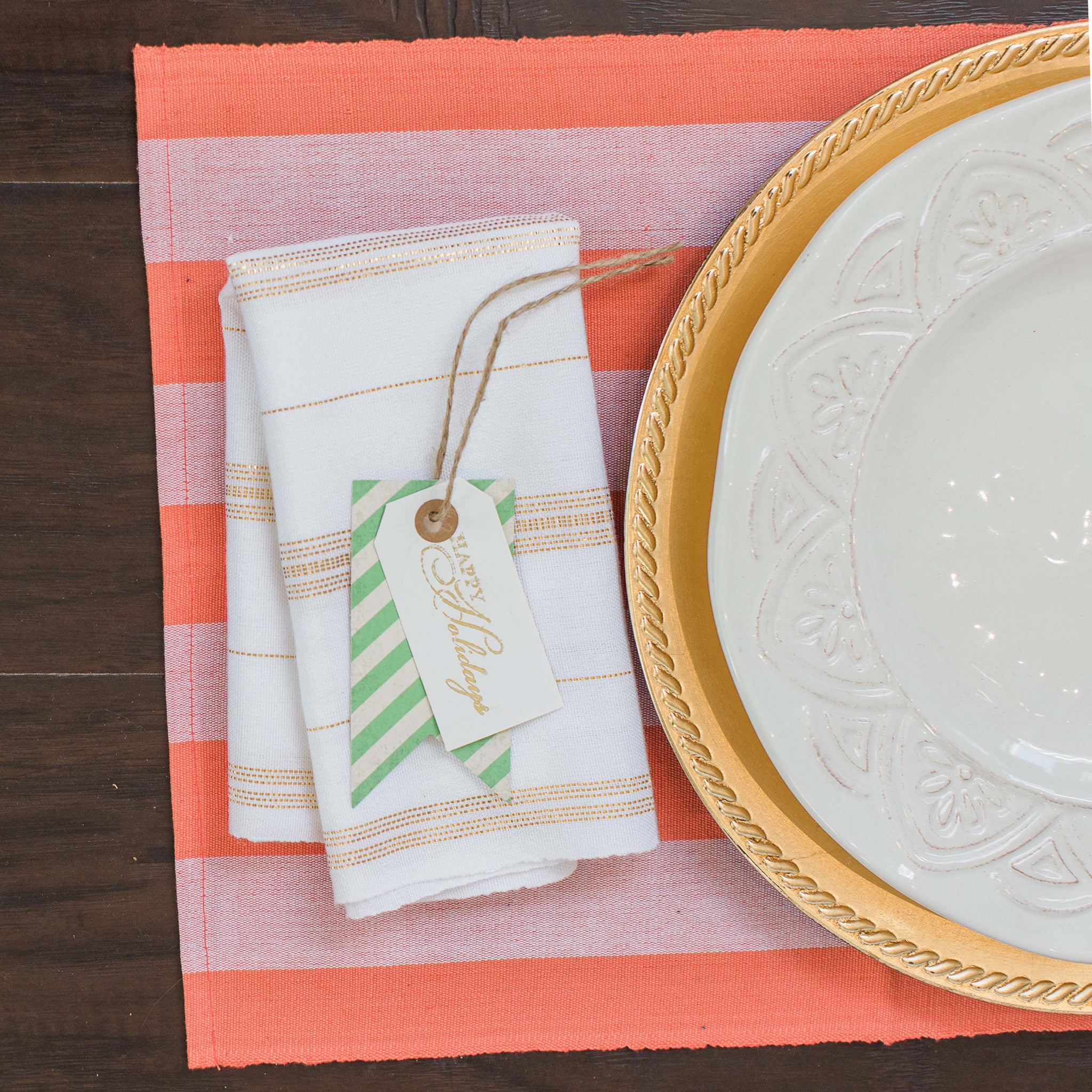 Coral and White Fair Trade Placemats set 4 & Coral and White Fair Trade Placemats set 4 - Education And More