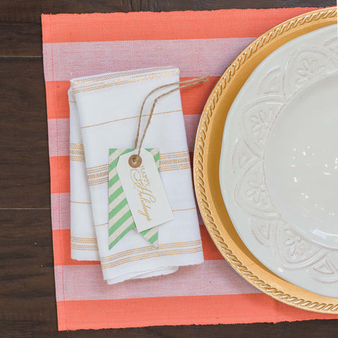 ON SALE  Coral and White Fair Trade Placemats, set 4