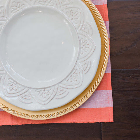Coral and White Fair Trade Placemats, set 4