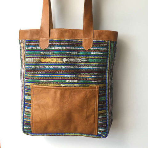Mayan Fabric Upcycled Large Ethical Tote Purse