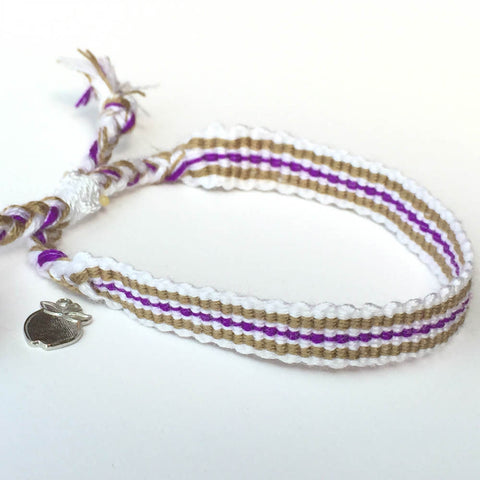 Purple and Tan Friendship Bracelet, Fair Trade
