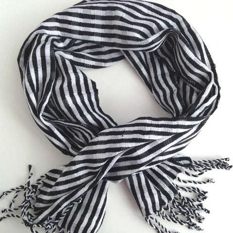 unisex black and white stripe fair trade scarf