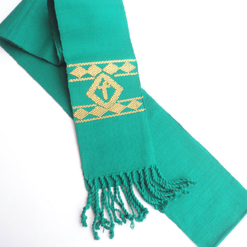 Green Clerical Stole, Fair Trade, Handwoven