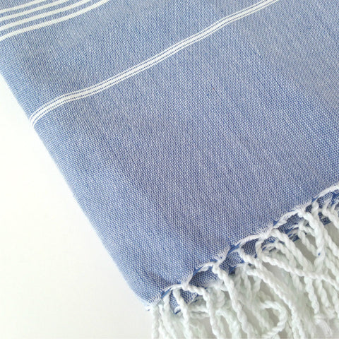 Handwoven Blue Turkish Hammam towel