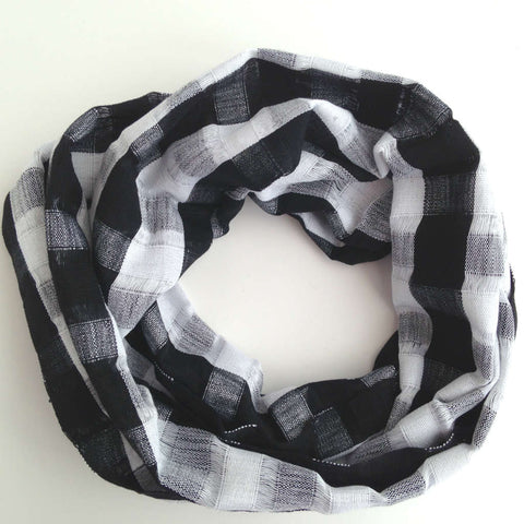 Ethical Fashion Black & White Plaid Scarf
