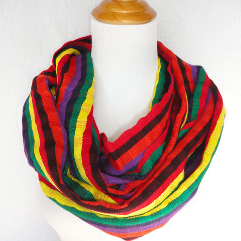 Fair Trade Infinity Scarf, Multi Color Stripe
