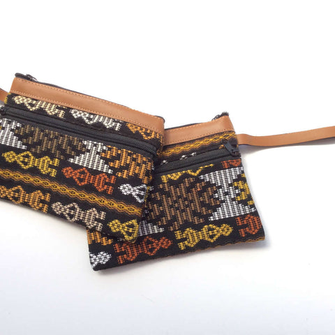 Eco Wristlet Wallet Bag, Leather & Upcycled Fabric