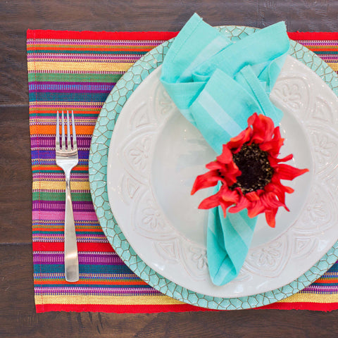 Handwoven Aqua Cloth Napkins, Fair Trade, Set 4