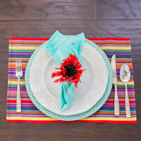"Multi Color Handwoven Placemats, ""Fiesta Time"" Fair Trade Eco Fashion, Set 4 SOLD OUT until April"