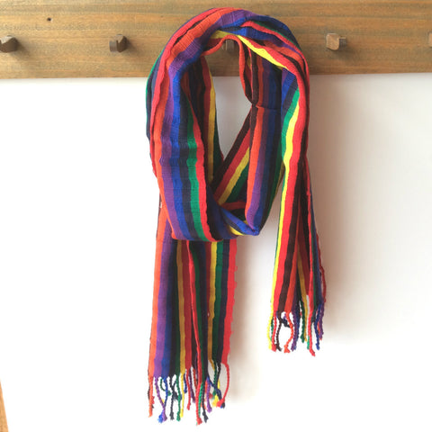 Multi color fiesta handwoven, eco scarf