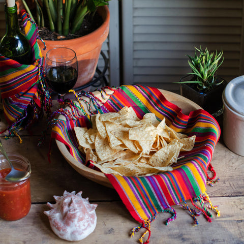 Fiesta Stripe Cotton Dinner Napkins, Bright Multi Color, Handwoven, Set 4 OUT OF STOCK UNTIL JANUARY