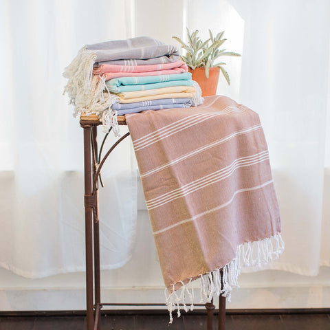 "'Buy One, Give One, Help One' Soft Brown Turkish Fouta Towel, Eco Home Decor, ""Soft Sands"""
