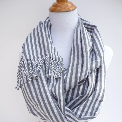 Eco, all natural cotton handwoven gray scarf