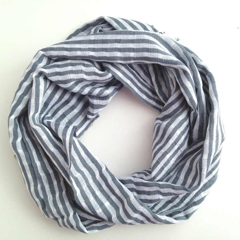 Gray and white stripe unisex scarf, Fair Trade