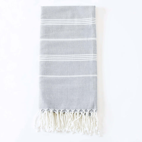 Gray Peshtemal Fouta, Handwoven, Fair Trade