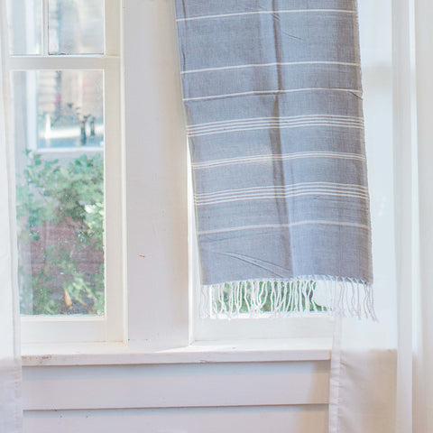 """Buy One, Give One, Help One"" Gray Peshtemal Fouta, Handwoven, Fair Trade"