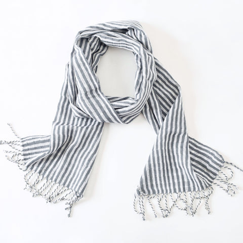 Unisex Gray & White Scarf, Eco & Fair Trade All Natural Cotton Yarns, Handwoven