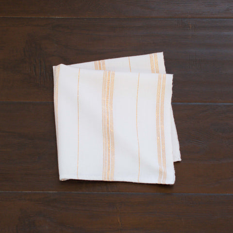 Handwoven, White Dinner Napkins, Gold Accents, Sustainable, Ethically Made, Set 4