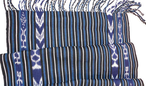 Indigo and Ikat Table Runner, Handwoven, Fair Trade, Mayan Design