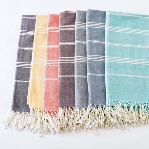 "Ethically Sourced Fair Trade Fouta, Peshtemal Towels ""Denim Blues"""