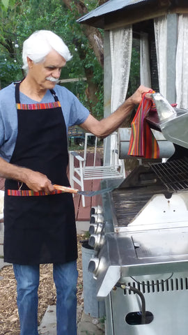 Handwoven Barbecue or Bib Apron with Pockets