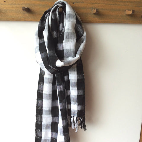 Unisex Black White Plaid Scarf, Eco Fair Trade