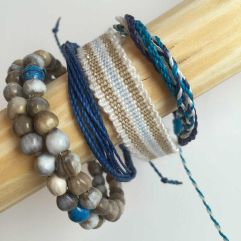 "Charity Bracelet Stack ""Sail Away With Me""  Blues, Turquoise"