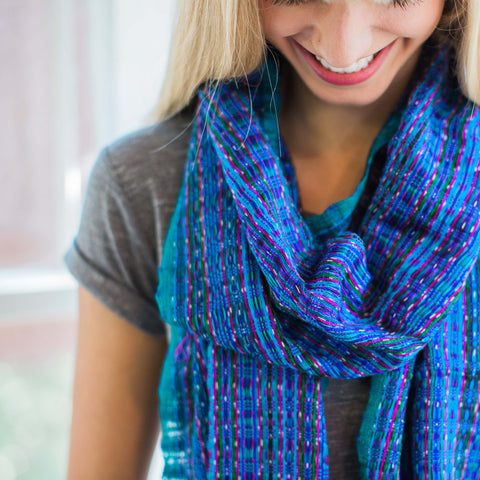 "Ethical Fashion, Handwoven Scarf ""South Seas"""