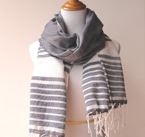 Ethical Fashion Scarf, Handwoven, Gray Or Navy, Unisex