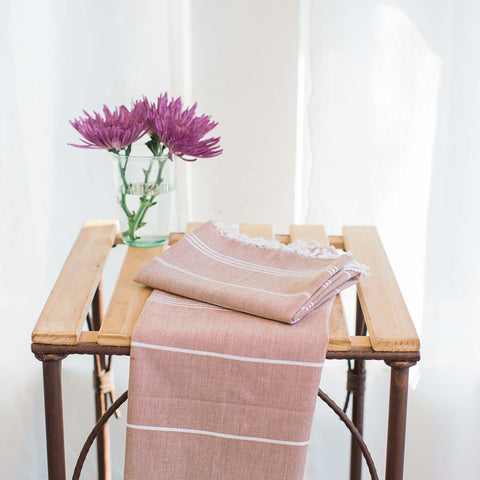 Handwoven Fouta Peshtemal Hand towel, Fair Trade in same colors as large foutas