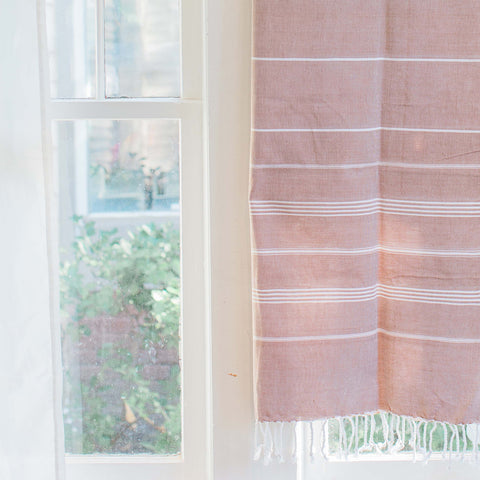 "Soft Brown Turkish Fouta Towel, Eco Home Decor, ""Soft Sands"""