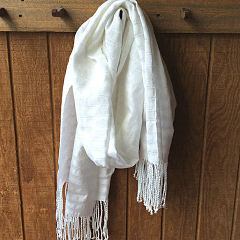 Ethically Sourced white wrap scarf