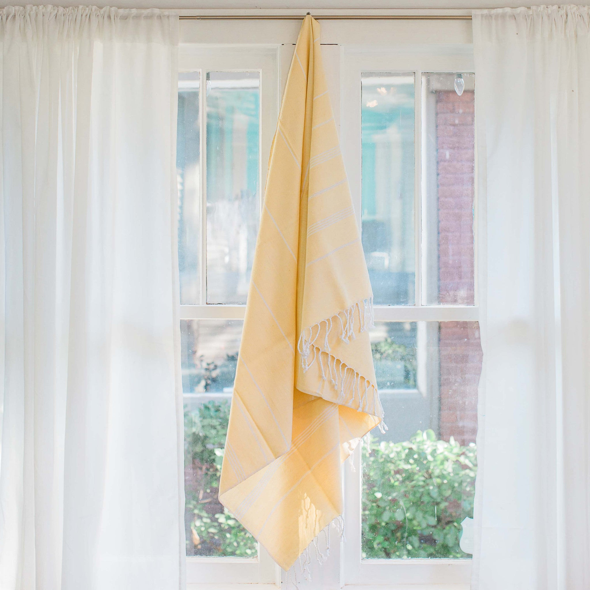 U0027Buy One, Give One, Help Oneu0027 Sustainable Home Decor Turkish Fouta Towel,  Soft Yellow