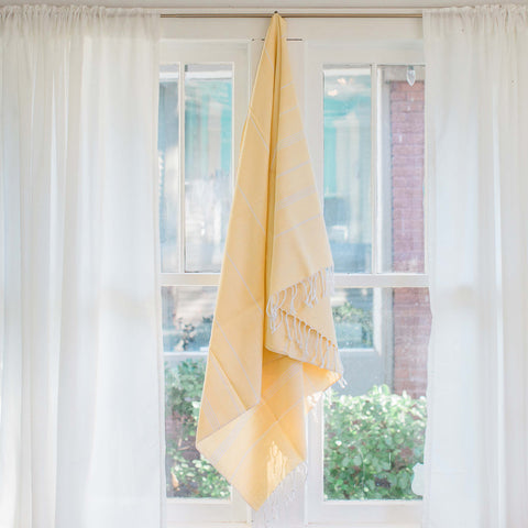Sustainable Home Decor Turkish Fouta Towel, Soft Yellow