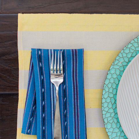 Wide Stripe Yellow and White Fair Trade Placemats, set 4