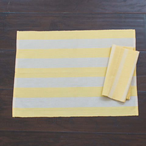ON SALE  Wide Stripe Yellow and White Fair Trade Placemats, set 4