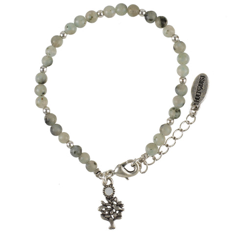 Small gemstone and silver beads bracelet with silver tree of life charm