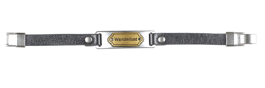 Nordic navigation bracelet gold and silver, black crystal on dark pearl leather. - Fifth Corner & BlueBird