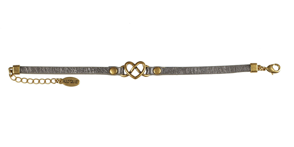 Infinity Heart Bracelet, Gold Heart on Leather - Fifth Corner & BlueBird