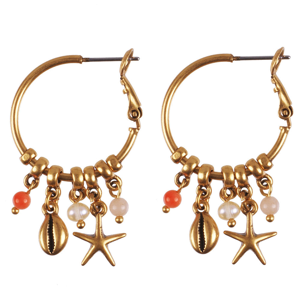 Under The Sea Gold Charm Hoops - Fifth Corner & BlueBird