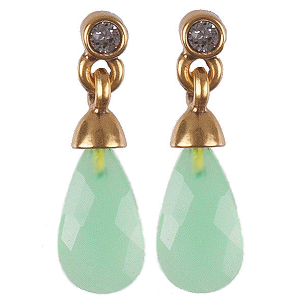 Semi Precious Green Drop Earrings On Gold - Fifth Corner & BlueBird