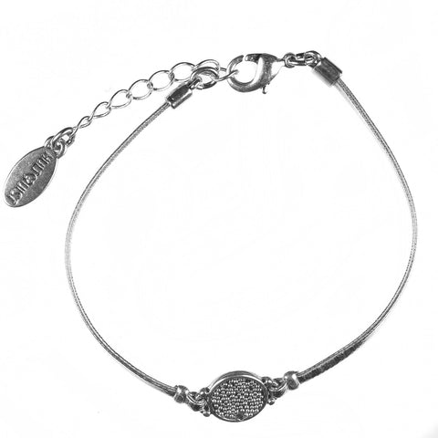 Silver Cosmic Disc With Bead Detail Bracelet - On Silver Leather