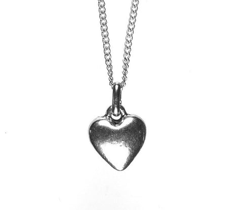 Simple Silver Heart Necklace - short
