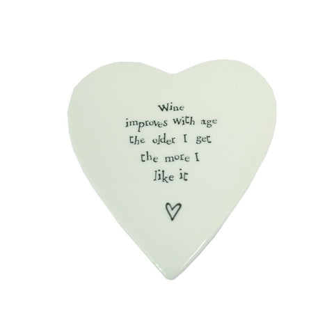 Porcelain Heart Coaster - Wine Improves with Age