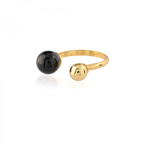 Gold Adjustable Ball Ring