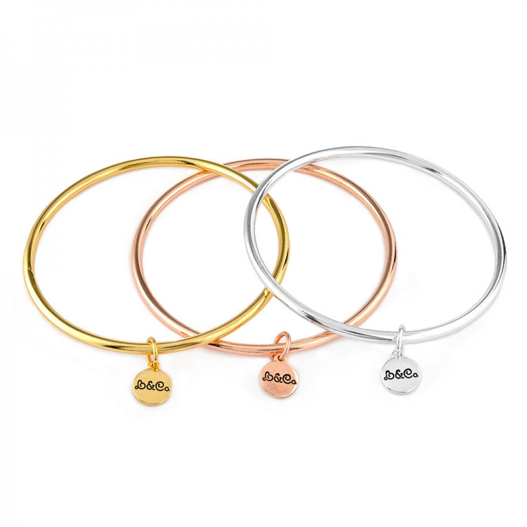 Plain Plated Bangle With Charm - Love Luxe