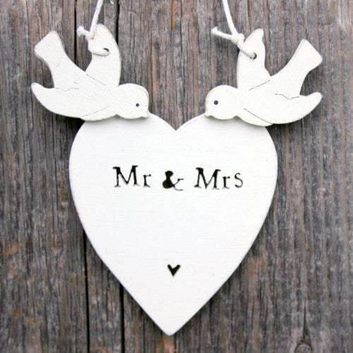 Mr & Mrs Heart With Doves - Fifth Corner & BlueBird